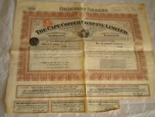 Vintage share certificate Stocks Bonds Action Cape copper company limited 1913