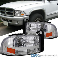97-04 Dodge Dakota Durango Chrome Clear 1PC Headlights Head Lamps Left+Right