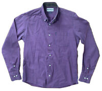 BARBOUR Shirt Size Small BURGUNDY BLUE   Check Tailored Fit Smart Work Office