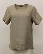 NEUTRAL FLAX LINEN TEE SHIRT SHORT SLEEVE PULLOVER TOP NATURAL HANKY PETITE