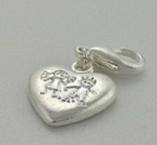 LOVELY SILVER HEART WITH BOY & GIRL ENGRAVED ON IT CLIP ON CHARM - B - S/PLATE
