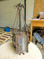 Antike Eingangslaterne H 53 cm Porzellanfassung 5 eckig Glas Metall RAR I
