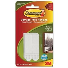 3M COMMAND Damage Free Hooks Wall Picture Narrow Mini Hanging Strips White 5.4kg