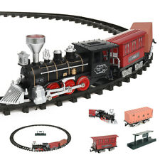 Electric Christmas Train Track Set W/ Light Sound Kids Toy Vehicles Container