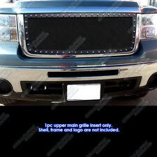 Fits 2007-2010 GMC Sierra 2500 HD/ 3500 HD Stainless Black Rivet Mesh Grille