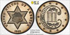 1863/2 Choice Proof 3c Silver,  PCGS PF-63