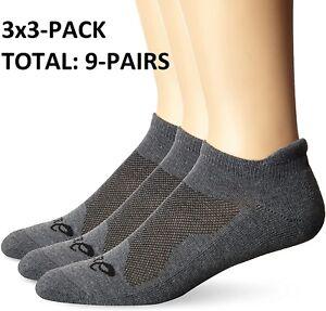 3-Packs of 3 - Asics Cushion Low Cut Athletics Socks UNISEX - Total 9 Pairs Gray