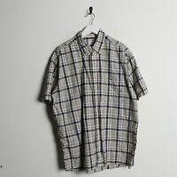 Vintage LACOSTE Small Logo Short Sleeve Check Shirt Beige   Large L