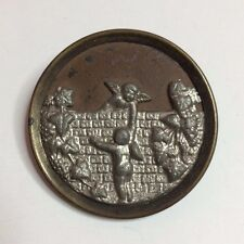Large Brass & Silver Tone Metal Sewing Button Children Angels Playing In Garden