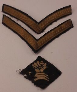 Vintage WW2 Gold Corporal Stripes and Armoured Fist Military Badge FREE UK P&P