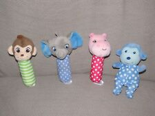 GARANIMALS STICK RATTLE BABY TOY SOFT LOT MONKEY HIPPO ELEPHANT STUFFED TOYS