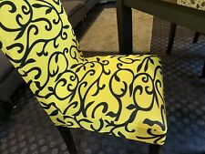 Slip Chair Covers SET OF (4) New Never Used Yellow & Black
