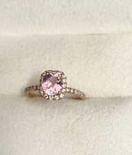 Peach Sapphire and Diamond Engagement Ring 14K Rose Gold