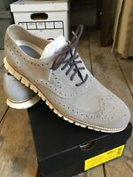 NEW Cole Haan Zerogrand Suede Wingtip Shoes Gray/Ivory Size 10.5 M $190