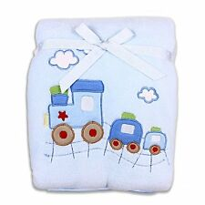 Spasilk Baby-Boys Newborn Extra Thick Plush Blanket with Satin Trim, Blue Train,