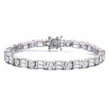 Rozzato Sterling Silver Clear Round and Emerald CZ Two-Row Tennis Bracelet