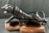 Vintage Black Panther on Log Planter Mid Century Jeweled Collar and Eyes