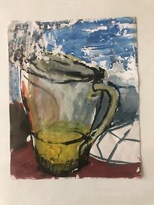 """ADRIAN FROST Watercolour & Acrylic Signed Painting son of Terry Frost """"Night Jug"""