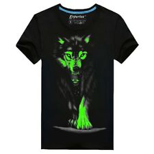Men Cotton Blended 3D Printed Noctilucent Wolf Short Sleeve T-shirt