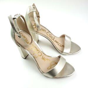 Sam Edelmans Womens Strappy Gold Ultra High Block Heel Open Toe Sandals Size 10M