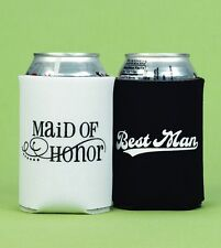NEW Maid of Honor & Best Man Wedding Can Coolers Koozies