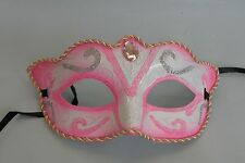 Pink and White Venetian Masquerade Party Face Mask & Ribbon Tie On - NEW