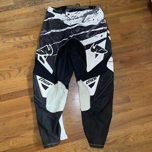 THOR Men's Size 38 Black/white Motocross/Off Road ATV Riding Pants
