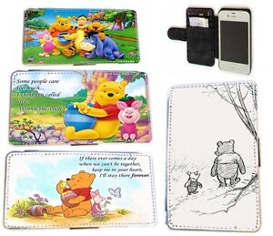 Winnie the Pooh Piglet quote leather wallet phone case for Iphone HTC