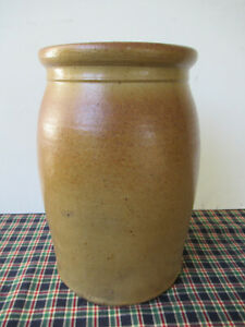 Antique Crock Stoneware One Gallon Tan/Orange Salt Glaze, Vintage, Ex Cond.