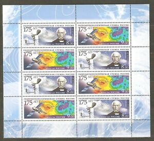 Russia: sheet of 4x2 mint stamps, 2009, hydrometeo service, Mi#1548-1549, MNH.