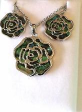 Wunderschöne intarsierte Abalone Shell Rose Halskette & Ohrringe Set NEU in Box