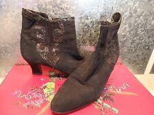 Moda in Pelle Black suede glitter ankle boots 6.5