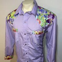 Vtg Western Shirt Cowboy Pearl Snap Woodstock Hippie Disco 60s 70s MENS 2XL XXL