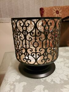 Bath & Body Works Black Ornate Heart Pedestal 3-Wick Jar Candle Holder NEW