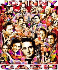 """JOHNNY CASH"" TRIBUTE -12 X 14"" POSTER PRINT BY ED SEEMAN"
