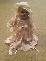 "Vintage Hard Plastic Doll 12"" Tall Baby Face Pink night clothes w doll stand VGC"