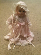 """Vintage Hard Plastic Doll 12"""" Tall Baby Face Pink night clothes w doll stand Vgc"""