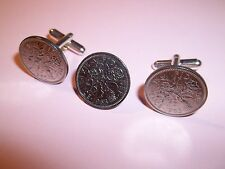 SIXPENCE COIN CUFFLINKS AND TIE PIN SET - 1958 - 59th BIRTHDAY