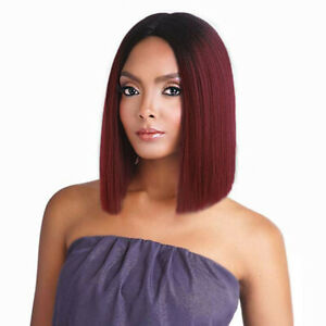 """12"""" Short Straight Bob Middle Part Red Wig Synthetic Wigs Heat Resistant Fiber"""