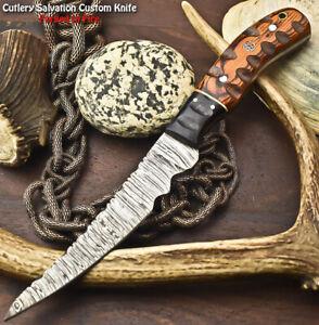Gorgeous Custom Hand Made Damascus Blade Chef Hunting Knife | Hard Wood