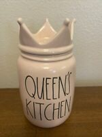 Rae Dunn 'QUEEN'S KITCHEN' Ceramic Pink Canister With Crown NEW