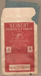 H.E. SEIBERT Poison Fly Paper (Arsenic) ~ 1920 full Package 8 sheets St. Paul MN