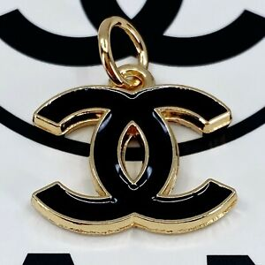 Authentic CHANEL Zipper Pull, Stamped Logo Pendant 18mm Designer Buttons Jewelry