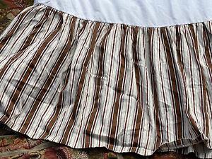 RARE~ RALPH LAUREN Chaps *CHANDLER PAISLEY *QUEEN BEDSKIRT Stripes Cream Brown