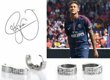 Men's/boy's Neymar 18ct White Gold Plated Diamond Effect Huggie Earrings
