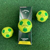 CALLAWAY CHROME SOFT TRUVIS YELLOW and GREEN Golf Balls - NEW 3-ball sleeve