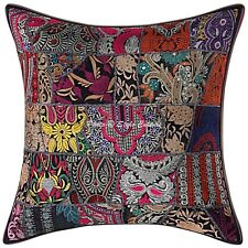 Indian Cotton Throw Pillow Cover Black 24x24 Vintage Patchwork Cushion Cover
