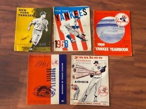 Lot of 5 Vintage New York Yankees YEARBOOKS - 1958 - 1959 - 1961 - 1963 - 1965