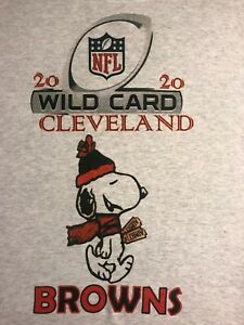 CLEVELAND BROWNS NEW WILD CARD PLAYOFF GRAY) TSHIRT, SIZE S: M,L,XL,2X NEW