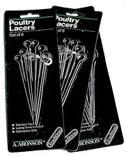 Set Of 3 Packs Aronson Turkey Poultry Lacers PreBurnt Tip Stainless Steel